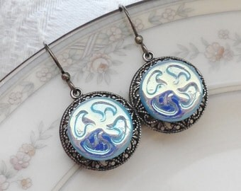 Squiggly, Earrings made with Vintage Glass Buttons, Iridescent Blue
