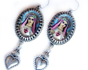 Sacred Heart Earrings, Mary Earrings, Pop Art Jewelry, Blessed Mother, Catholic Jewelry, Turquoise and Pink Earrings, Gift, Gift for her