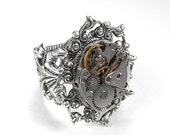 Steampunk Jewelry Ring Vintage SILVER Ornate Jeweled Watch Movement  Womens Wedding Mom Mother's Day Gift - Steampunk Jewelry by edmdesigns