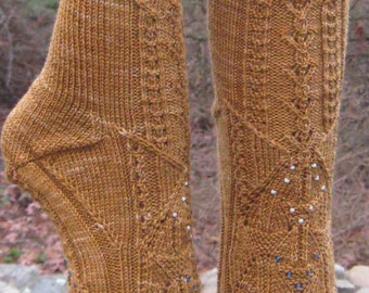 hand knit beaded brown wool cable socks