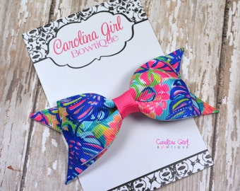 """Exotic Garden ~ 3.5"""" Hairbow ~ Lilly Inspired ~ Small Hair Bow ~ Girls Barrette ~ Toddler Bow ~ Hair Clip ~ Girls Hair Bow"""