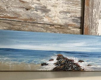 Seascape Painting-Acrylic Painting on Wrapped  Canvas-Jersey Shore-Jetty Painting -Painting of Beach