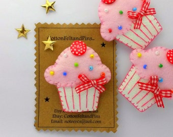 Felt Hair Clips, Pink Cupcake hair Clip or Hair Tie, Handmade Felt and glitter cupcake Hair clip, hair bobbles
