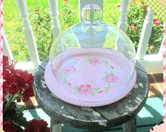 Cake Dome, Cake Saver, Pastry Saver, Small, Shabby Chic Hand Painted Rose Tray, Marie Antoinette Hand Painted Tea Tray, Toleware Tray