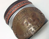Vintage repurposed Upcycled Detroit Michigan industrial metal leather cuff bracelet