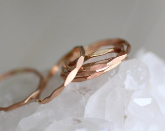 Set of Three Rose Gold Stacking Rings. Pink Gold, Minimalist, Simple Jewelry Made to Order