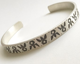 Men's Stamped Cuff Bracelet in Sterling Silver, Navajo stamps, handmade