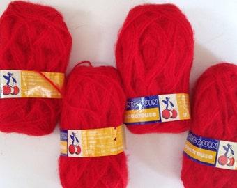 Red Yarn Pingouin yarn Acrylic Wool Mohair Yarn Blend 4 Skiens Retired Yarn