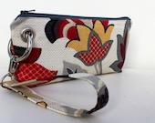 Zipper Pouch Clutch Wallet - Long Wallet - Cell Phone Wallet - Errand Runner Fabric Wallet Wristlet - Travel - Gray Taupe Red Yellow Floral