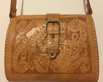 Vintage Tooled Leather Bag, Vintage Purse, Hand Tooled Leather, Boho Chic, Gypsy Style