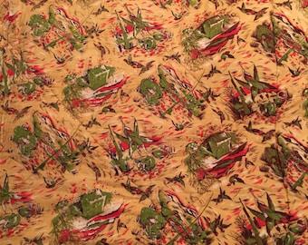 Vintage Sleeping Bag Coleman Flannel Duck Print Vornado