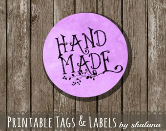 "Printable PDF 1.5 inch Circle Labels - Whimsical ""Hand Made"" Text on VIOLET Purple Watercolor Background - Great for Craft Shows and Gifts"
