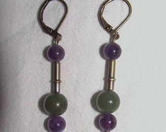 Simple Dangle earrings - purple and green