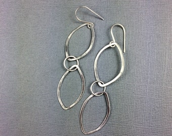 Handmade Double Petal artisan forged silver earrings deana albers