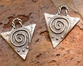 Two Upside Down Triangle with Spiral Charms in Sterling Silver, AD-657
