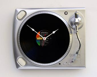 Record player clock, record album clock, music lover clock, Art Clock, upcycled large wall clock, vintage, Recycled Turntable Clock,