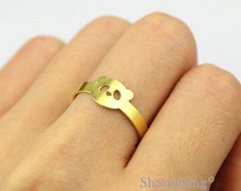 2pcs Raw Brass Panda Ring, Simple Ring, Adjustable Animal Brass Rings - TR049