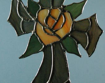 Stained Glass Cross with Peach and Yellow Rose Center Suncatcher.