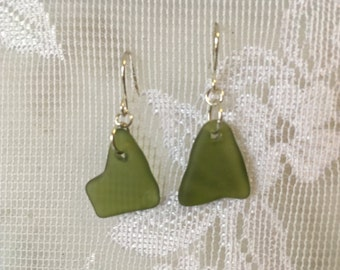 Tiny morsels of olive green sea glass inspired tumble glass earrings TrAsH gLaSs silver plated wires