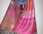 RESERVED  Handwoven Silk Scarf, Multicoloured Spots, Hand Dyed