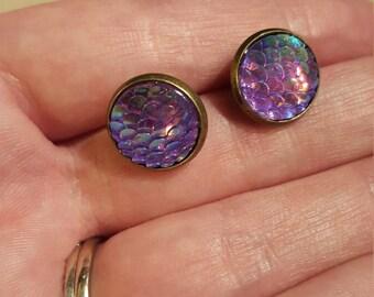 Mermaid Scale Earrings - Violet