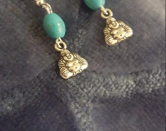 Tiny Turquoise Buddha Earrings