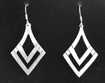 Sterling Silver Taxco Indian Drop Earrings  Vintage Taxco Sterling Silver Earrings  Indian Artist Design