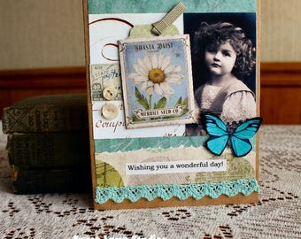 Wonderful Day Birthday card,handmade card,collage card,