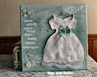 Into The Wind Vintage Altered Dress Collage Canvas 12 x 12 inches with vintage embellishments
