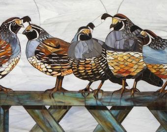 California Quail Giclee Print - Mosaic Quail Art - Quail Mosaic Art - Stained Glass Quail - Bird Print - Bird Art Print - Bird Wall Decal