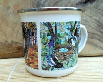 Fox Badger Magpies Enamel Mug - Woodland Camping Mug - Fox Mug - Badger Mug - Magpies Mug Gardening Gift for Him Camping Gift Gardening Mug