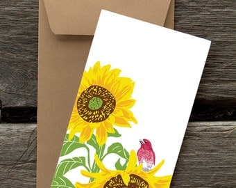 Purple Finch in Sunflower : Pack of 8 eco-friendly flat cards
