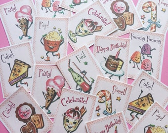Candy Stickers - Set of 18 - Handmade Stickers, Vintage Style, Vintage Anthropomorphic, Cute Planner Stickers, Cute Stickers, Kitsch Candy