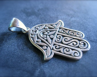 Hand of Fatima charm pendant - Solid Sterling Silver - 30mm X 23mm - large