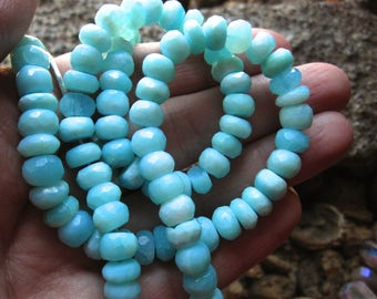 Peruvian Opal beads faceted rondelles - stone beads - 6 inches 8mm X 5mm