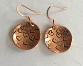 Copper dangle earrings hand cut and stamped metal work just plain Jane designer fun fresh