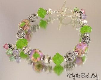 Lampwork Bracelet - Lampwork Boro Pastel Bali Sterling Silver Bead Bracelet - KTBL