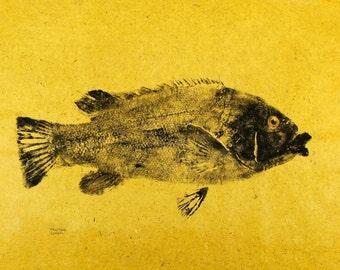 GYOTAKU fish Rubbing Tautog 8.5 X 11 Fisherman Gift quality salt Water Black Fish Art Print by artist Barry Singer