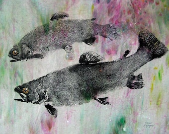GYOTAKU fish Rubbing Two Rainbow Trout 8.5 X 11 quality Art Print Cottage Decor Fly Fishing by artist Barry Singer