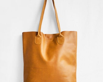 The Essential Tote in Camel Brown  / Nappa Leather Tote Bag  / Camel Brown Tote Bag / Leather Handbag / Brown Leather Tote / Leather Handbag