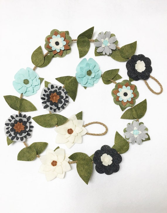 Flower Garland, Gray and Teal Flowers, Felt Flower Garland, Rustic Twine, Room Decoration, Wedding, Party Decoration, Gift under 50