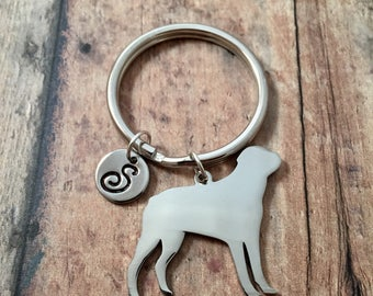 Rottweiler initial key ring - dog breed key ring, gift for Rottweiler owner, dog key chain, Rottweiler key ring, Rottie key ring