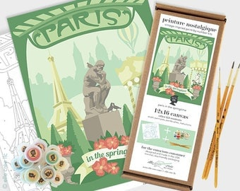 paris in the springtime - 12x16 paint-by-number kit