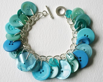 Button Bracelet Aqua Blue Ocean