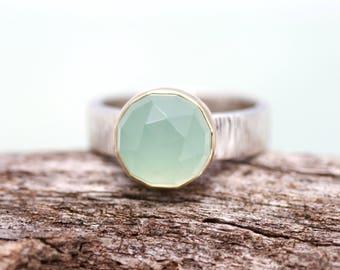 aqua chalcedony ring, sea foam green chalcedony mixed metal ring, rose cut gemstone ring,  Rachel Wilder Handmade Jewelery