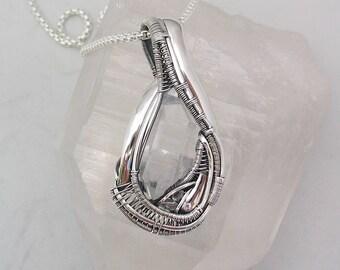 Quartz Crystals Pendant Quartz Wire Wrap Wire Wrapped Pendant Heady Wire Wrap Wire Wrapped Jewelry Lemurian Quartz Crystal Sterling Silver
