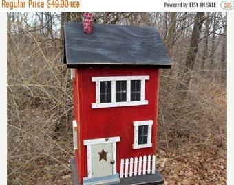 ON SALE Primitive Birdhouse Folk Art Rustic Country Colonial Red Salt Box Garden Patio