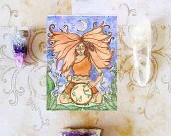 Goddess Art Wild Woman Prayer Card Shaman Mystical Fantasy Art Divine Feminine Sacred Art Spiritual Art Pagan Mythology Priestess Altar