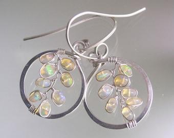 Small Opal Sterling Hoops, Hammered Silver Earrings with Fiery Opal Gemstone Vines, Lightweight Dangles