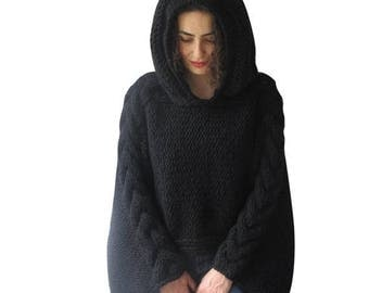 WINTER SALE Plus Size Knitting Sweater Capalet with Hoodie - Over Size Black Cable Knit by Afra